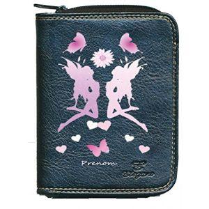 Porte monnaie porte carte noir Fee personnalise avec prenom Cadeau Fete des meres (sylla city, neuf)