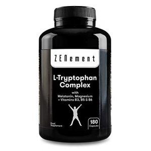 L-Tryptophane Complex avec Mélatonine, Magnésium + Vitamines B3, B5, B6, 180 Gélules | pour réguler l'humeur et combatre les effets du stress, précurseur de la Sérotonine | sans additifs, sans Gluten (Zenement France, neuf)