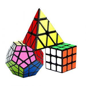 Coolzon Speed Cube Rubiscube, Ensemble de Cubes 3x3 + Pyraminx + Megaminx Dodecahedron, Cube de Vitesse Paquet de 3 (WUXU, neuf)