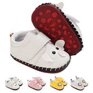 Kfnire Bébé Filles Garçons Baskets Préwalker Chaussures Scratch Cuir PU Enfants Garçon Préwalker Chaussures Premiers Pas 0-24 Mois (Kfnire-EU, neuf)