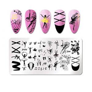 Outils de pochoir Lignes géométriques Plaques d'estampage à ongles Timbre d'image Musique de ballet fille (shenzhenshifengtao, neuf)