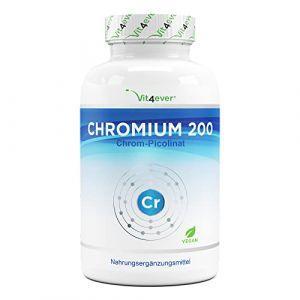 Picolinate de chrome - 200 mg de chrome pur par comprimé - 365 comprimés par an - Aucun additif indésirable - Dosage élevé - Végétalien (Vit4ever, neuf)