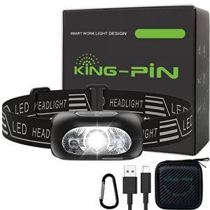USB Rechargeable Lampe Frontale LED Imperméable Léger Mini Lampe Frontale 7 Mode Facile d'utilisation Parfaite pour Jogging, Randonnée, Camping, DIY (Lampe Frontale avec Capteur Infrarouge Noir) (Sunshine Technology Co., Ltd, neuf)