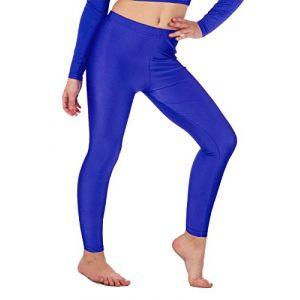 Re Tech UK Legging de gymnastique/danse - pour fille - Lycra/élastiqué - sans sous-pied - brillant/fluo - Bleu roi - 3-4 ans (Re Tech UK, neuf)