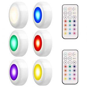 LEDGLE 18W Éclairage Sous Meuble Cuisine Spot LED Lampe de Placard Sans Fil avec Télécommande, Etanche IP44, Lot de 6 (LEDGLOBAL, neuf)