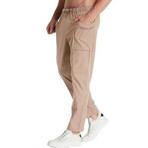 MODCHOK Homme Pantalons Jogging Long Pants Loose Coupe Droite Lin Coton Sport Décontracté Beige2 2XL (Athenawin, neuf)