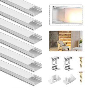 Profilé Aluminium LED, DazSpirit 6Pack 3.3ft/1M Aluminium Profilé U-Forme En Couvercle De Diffuseur Blanc Laiteux pour Ruban LED, Avec les Embouts et les Clips de Fixation du Métal (Crolex, neuf)