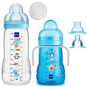 MAM Baby Bottle Smart Set à partir de 4 mois Easy Active Gourde 330 ml avec tétine Taille 2 & MAM Trainer avec tétine Taille 4 (babywaren24, neuf)