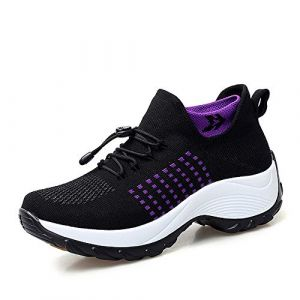 XPERSISTENCE Chaussures Femme Confort Running Femme Compensee Basket Mesh Air Cushion Noir Taille 36 (XPersistence, neuf)