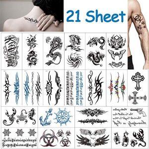 Tatouage Temporaire pour Adulte, Vibury 21 Feuilles Tatouages éphémères, Cœur de dragon- Dragon de tigre Scorpion Graphique de crane (urwety, neuf)