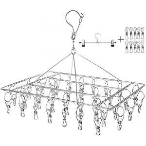 Qualsen Étendoir à Linge à Suspendre avec 36 Pinces en Acier Inoxydable à l'épreuve du Vent pour Chaussettes/sous-vêtements/vêtements/Serviettes, Egouttoir Drip Cintre (QualitysenseUK, neuf)