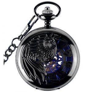 Infinite U Aigle/Ange/Phénix Bleu Chiffre Romains Cadran Mécanique Montre de Poche Squelette en Acier Pendentif Collier Noir (Infini U, neuf)