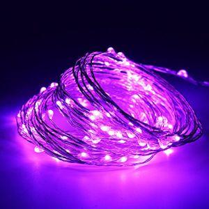 10M(32,8ft) 100 LED Cuivre fil de cuivre LED Guirlande lumineuse étanche étoiles Lumière Chaînes alimenté par batterie pour le Festival de Noël (Violet) (Bayou Tech., neuf)