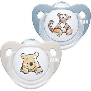 NUK Trendline Lot de 2 tétines pour bébé 6-18 mois en silicone sans BPA Motif Winnie l'ourson Bleu (M.D. Shop, neuf)