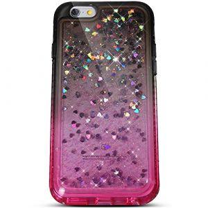 Felfy Compatible avec Coque iPhone 6S Liquide Paillette,Compatible avec iPhone 6S Coque Transparente Silicone TPU 3D Glitter Quicksand Strass Étui Housse Bumper Cover Case,Noir Rose (Okssud, neuf)