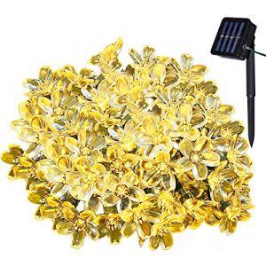 Yasolote 7m 50 LED Guirlande Solaire Fleur Guirlande Lumineuse Extérieure avec 8 Modes d'éclairage Ornement de Jardin, Terrasse, Balcon (Blanche Chaude) (yasolote direct, neuf)
