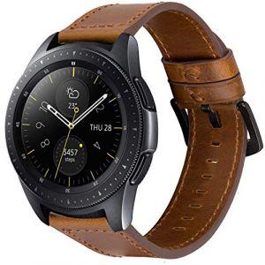 iBazal 20mm Bracelet Cuir Libération Rapide Bandes Straps Compatible avec Samsung Galaxy Watch 42mm/Active 40mm/Gear S2 Classic/Sport Bands Remplacement pour Huawei 2,Ticwatch 2/E Homme - Marrón/Negro (ibazal, neuf)