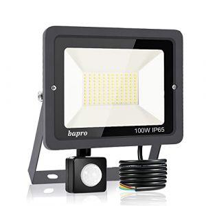 100W Projecteur LED détecteur de mouvement, Blanc Froid 6000K spot led exterieur avec detecteur IP65 lampe de sécurité idéal pour éclairage public, garage, couloir, jardin[Classe énergétique A++] (Bapro, neuf)