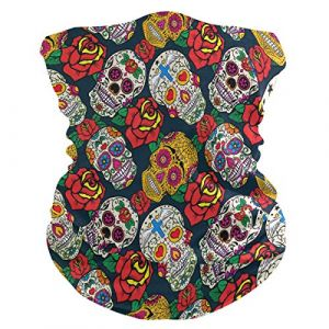 QMIN Bandeau Mexicain en Sucre Tête de Mort Rose Fleur Bandana Visage Protection Soleil Masque Cagoule Magique Cagoule Cagoule pour Femmes Hommes Garçons Filles (QMIN, neuf)