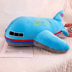 Peluche jouet avion enfant modèle poupée chiffon poupée garçon oreiller enfant cadeau d'anniversaire-bleu_65 cm (lizhaowei531045832, neuf)