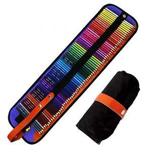 Crayons de Couleur Premium GLEADING - Ensemble de 72 Couleurs Avec un Sac à Rouler en Toile et un Taille-Crayon. (Wendy & Kyle, neuf)