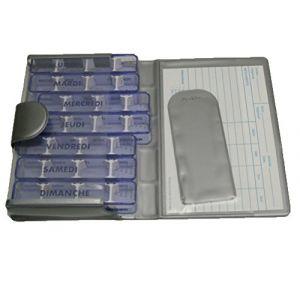 Pilulier semainier, MEDIDOS - LUXE, GRAY, indications en FRANÇAIS, trousse de poche, 7 jours individuels, 28 compartiments modulables, pour médicaments peu volumineux. Etui solide, rigide, matière synthétique semi-mate. Dimensions de la trousse qui contie