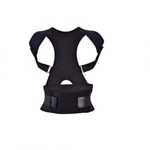 Correcteur de posture pour le dos - Ceinture de maintien du dos avec lisseur réglable pour le dos - Brace dorsale pour le soulagement de la douleur dans le haut du dos, améliorer la posture(XL-noir) (Pongnask, neuf)