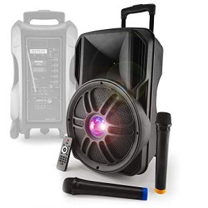 Enceinte autonome sur batterie 12'' 700W - Effet Friztal LED - USB/SD/BT/FM + 2 Micros VHF - MyDJ Diams12 (100MAXI, neuf)