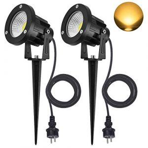 SanGlory Lot de 2 Spots LED Exterieur, 7W LED Lampe de Jardin 800LM Blanc 3000K, Éclairage Exterieur Etanche IP65 LED Luminaire Exterieur pour Jardin Escalier Parc Balcon Terrasse (Blanc Chaud) (Hotoper, neuf)
