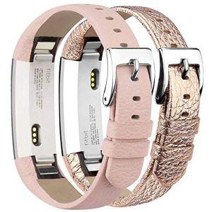 Tobfit Bracelets Compatible avec Fitbit Alta de Replacement Cuir Bracelets (2 Pack) Fitbit Alta HR Bracelet Réglable élégant et Classique Bande pour Fitbit Alta et Fitbit Alta HR (Rose & Rose Gold) (SMXMY-CN, neuf)