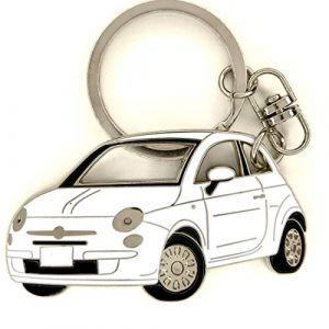 3dcrafter Fiat 500 Porte-clés pour Accessoires de Voiture Métal chromé, émail. Cadeau pour Le conducteur (White) (3dcrafterUK, neuf)
