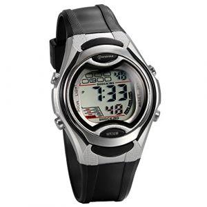 JewelryWe Montre d'Enfant Etudiant Sport Electronique Digital Chronomètre Alarme Lumineux Mutilfonction Bracelet Plastique Alliage Couleur Noir (JewelryWe Bijoux, neuf)