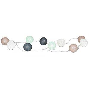 levandeo Guirlande lumineuse 10 boules LED en coton Vert menthe, marron, blanc (living-by-design, neuf)