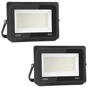 2pcs 300W 30000LM Lumières Extérieures 6500K Projecteur LED Ultra Mince Spot LED Extérieur Projecteur LED Extérieur Blanc Froid Lampe Projecteur IP65 Etanche Câble 0.75M [Classe énergétique A++] (NATUR, neuf)