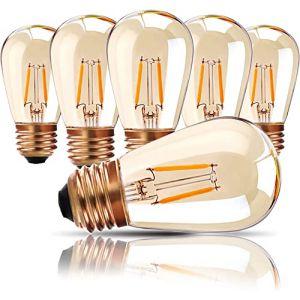 Lampes d'extérieur, ampoule LED à vis E27 Edison, 1W Ampoule de rechange à filament LED pour S14 ST45 LED, blanc chaud 2200K, verre ambré équivalent à 10W, non réglable, paquet de 6 (Genixgreen, neuf)