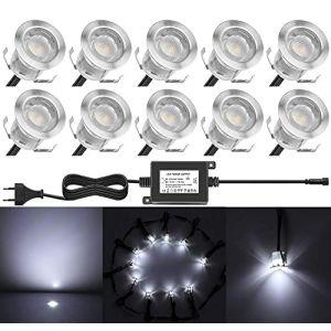 10 LED Spot Encastrable Extérieur - Mini spot encastré de Ø30mm Eclairage Encastrables Extérieur pour Terrasse Enterre, IP67 Etanche DC12V Lumière Moderne (Blanc Froid) (CHENXU, neuf)