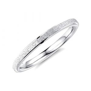 OAKKY 2MM Frotter Mariage Bande Bague Femme Acier Inoxydable Argent Taille 60 (EuropeShopping, neuf)