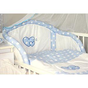 Baby's Comfort Parure de lit bébé ENSEMBLE DE 6 PIÈCES DE LITERIE CHOIX COULEURS HEARTS (s'adapte lit 140x70 cm, 3) (Baby's Comfort, neuf)