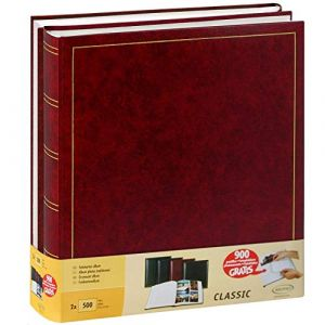 Lot de 2 albums traditionnels jumbo 100 pages pour 500 photos 10x15 - Rouge (LC-Distribution, neuf)
