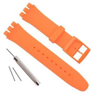 Bracelet de montre étanche en caoutchouc de silicone de remplacement pour Swatch (17mm 19mm 20mm) (19mm, Orange) (ColorBerryFR, neuf)