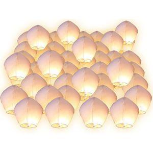 Lot de 10 Lanternes volantes blanches blanc surprise fête mariage céleste chinoise anniversaire extraordinaire+1 bracelet de gel de silice (PARTYLANDIA, neuf)