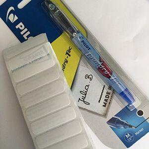 Kit de marquage textileavec feutre indélébile pour tissu et étiquettes vierges thermocollantes 100 Labels and Pilot Pen (Nametape Express, neuf)