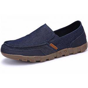 WUIWUIYU Homme Chaussures en Toile Bateau Espadrilles Tennis Mocassins-Bleu 45 (wuiwuiyu, neuf)