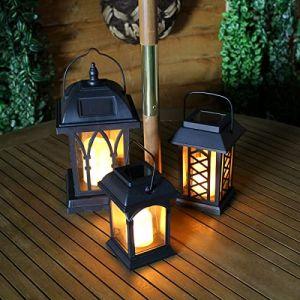 Festive Lights Lanternes Solaires Extérieures Décoratives Noir Mat avec Bougie LED Effet Vacillant (Pile Rechargeable Incluse) Waterproof (Lot 3 Lanternes) (Festive Lights Ltd, neuf)