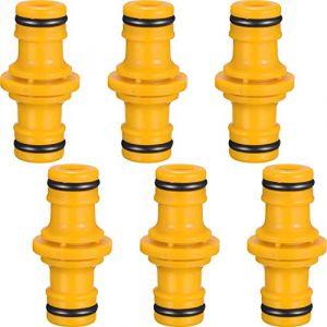 Hotop 6 Pièces Double Connecteur de Tuyaux Mâles Raccords de Tuyaux pour Rejoignez Le Tube de Tuyaux de Jardin (Jaune) (ZHANMAI FR, neuf)