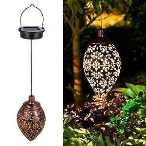 Lanterne Solaire, Tomshine LED Lampe lanterne extérieure, Conception en forme d'olive, Etanche IP44, Sans fil Rechargeable pour Garden Patio Courtyard Extérieur [Classe énergétique A+] (Dailbox, neuf)