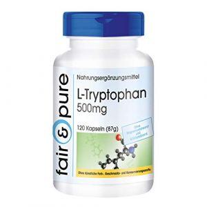 L-tryptophane 500mg - végan - acide aminé essentiel - 120 gélules de tryptophane (Fair & Pure, neuf)