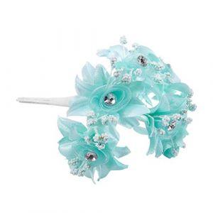 XZANTE 6pcs Gaze De Roses Artificielles Coiffure Chaussures De Mariage De Diamant DéCoration De Maison DIY Collage De Guirlande De MariéE De Fleurs Artificielles(Vert Menthe) 3.5cm (crayonbag, neuf)