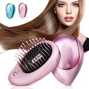 Brosse à cheveux électrique ionique, Luckyfine, Mini Brosse ionique pour cheveux, Peigne de massage magnétique à vibration, Traitements parfaits pour le massage du cuir chevelu des cheveux Rose (Maxlucky, neuf)
