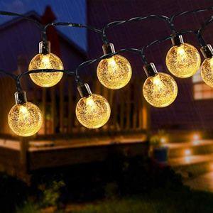 Guirlande lumineuse solaire 50 LED d'extérieur boule de cristal de jardin lumières décoratives pour intérieur étanche 24 m pour maison, jardin, terrasse, fête, cour, Noël - Blanc chaud (Useber Ltd, neuf)